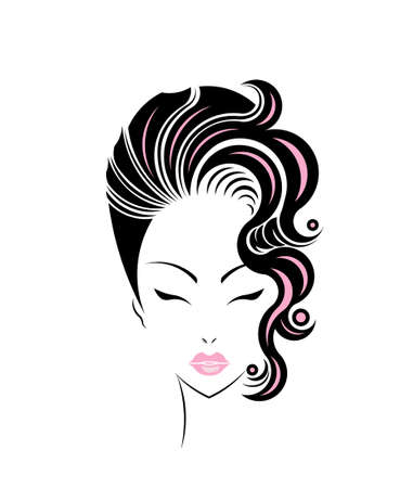 short hair: Short hair style icon, women face on white background, vector Stock Photo