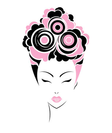 short wave: Short hair style icon, women face on white background, vector Stock Photo