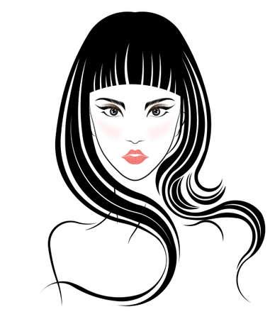 Long hair style icon, logo women face on white background, vector Stock Illustratie
