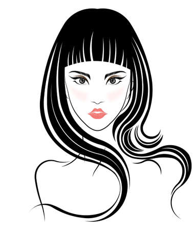 Long hair style icon, logo women face on white background, vector 向量圖像