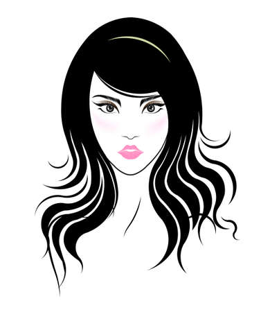 long hair: Long hair style icon, logo women face on white background, vector Illustration