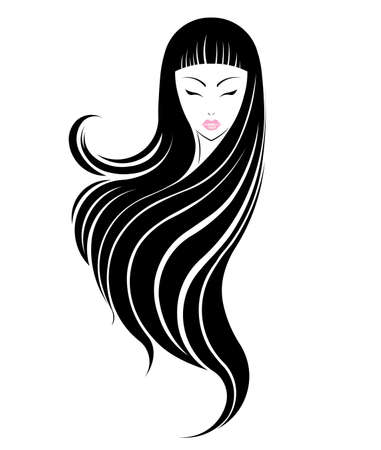 black hair girl: Long hair style icon, logo women face on white background.