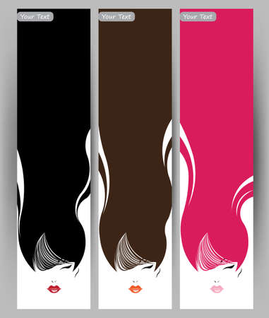 Banners with stylish of beautiful  long hair woman ,cards design template on white background Illustration