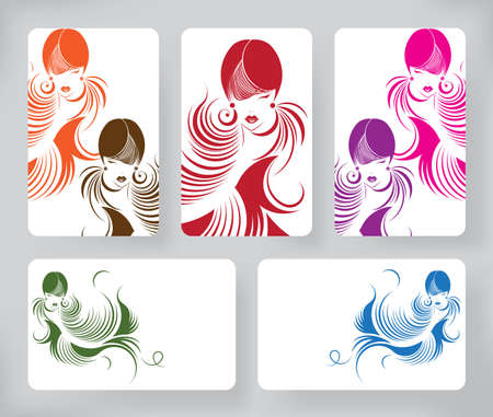 long hair woman: Banners with stylish of beautiful  long hair woman ,cards design template on white background Illustration