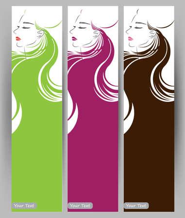 long hair woman: Banners con estilo de la hermosa mujer de pelo largo, plantilla tarjetas de dise�o sobre fondo blanco Vectores