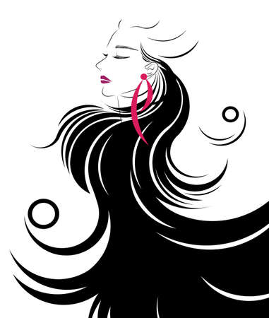 Long hair style icon,  women face on white background.