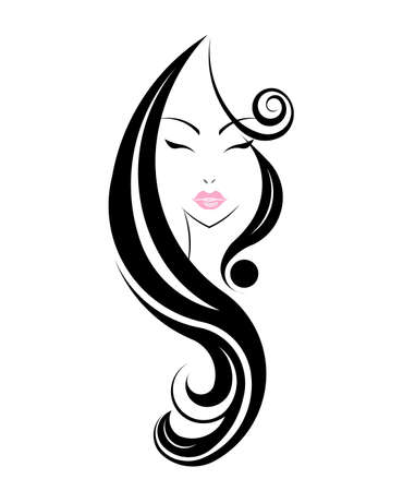 black hair: Long hair style icon, logo women face on white background.