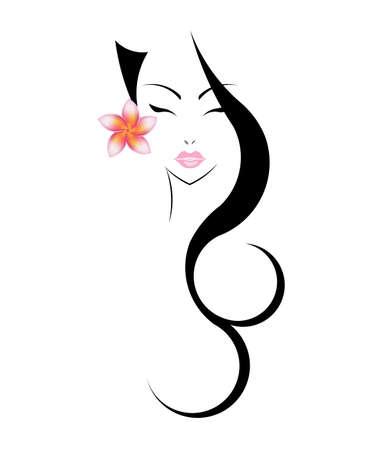 schönheit: Lange Haare Stil-Ikone, Gesicht logo Frauen mit Blume Plumeria auf weißem Hintergrund. Illustration