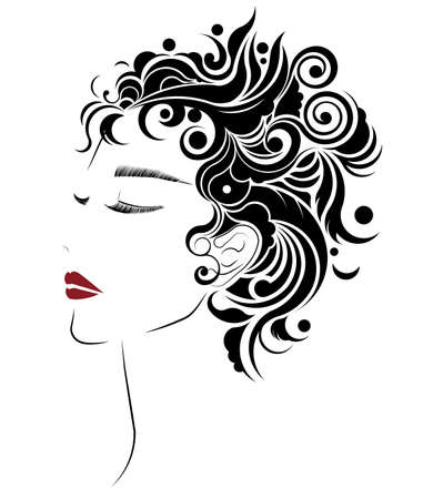 short hair style icon, logo women face on white background. Illustration