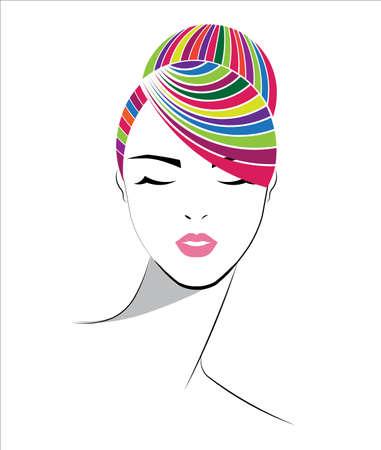 coloré icône de style de chignon, les femmes font face sur fond blanc, vecteur Vecteurs