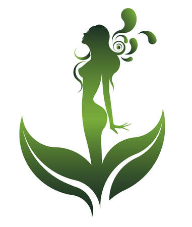 natural beauty: abstract green shape of  beautiful woman icon cosmetic and spa, women on white background, vector