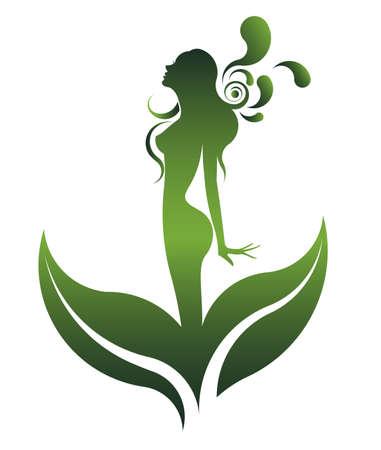 salon de belleza: forma verde abstracto de la hermosa mujer icono de cosméticos y spa, las mujeres en el fondo blanco, vector