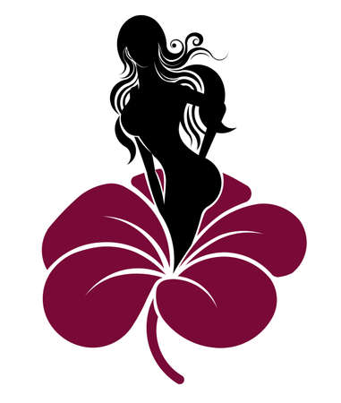 fleur mauve: icon cosmetic and spa of women shape with a purple flower, women on white background, vector