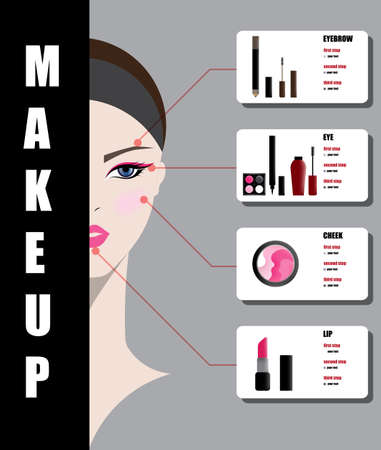 salon background: illustration vector of beautiful woman face with makeup on white background