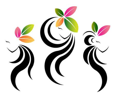Lange Haare Stil-Ikone, Gesicht Logo Frauen Mit Blume Plumeria Auf ...