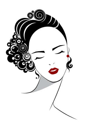 short hair: short hair style icon, logo women face on white background, vector