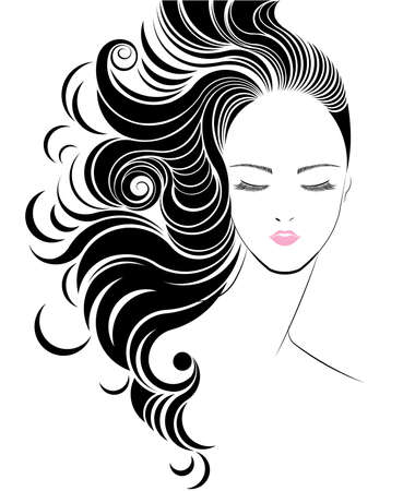 Long hair style icon, women face on white background, vector Illustration