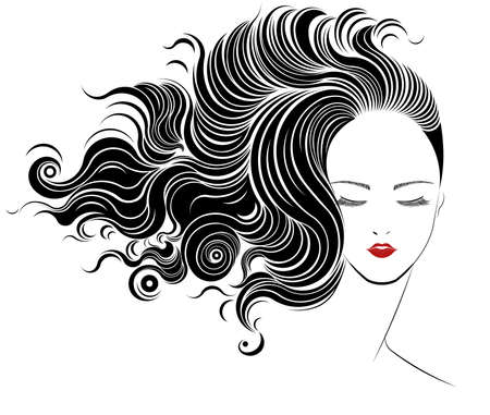 long black hair: Long hair style icon,   women face on white background, vector