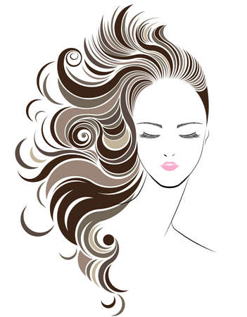 pink and black: Long hair style icon,   women face on white background, vector