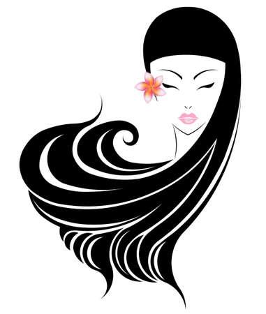 plumeria flower: Long hair style icon,   women face with plumeria flower on white background.