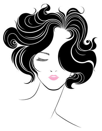 corta icono de estilo de pelo, las mujeres se enfrentan en el fondo blanco, vector