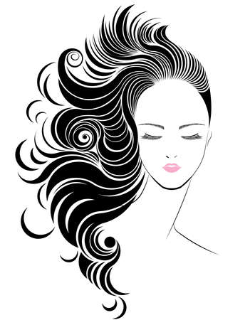 Long hair style icon,   women face on white background, vector
