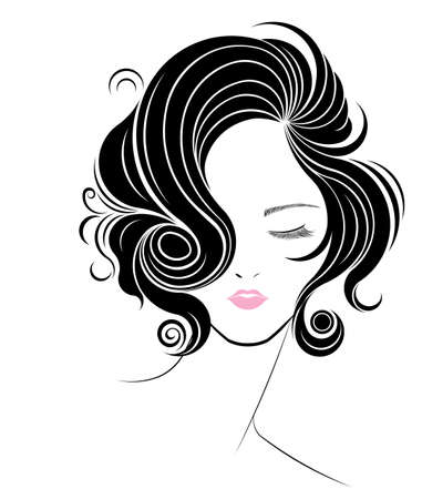 short hair: short hair style icon, women face on white background, vector Illustration