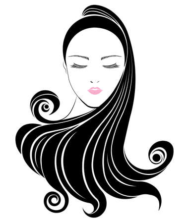 hair style: Long hair style icon, women face on white background, vector Illustration