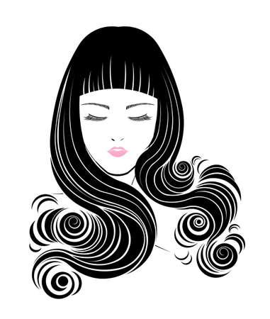 Icono de estilo de pelo largo, las mujeres enfrentan en el fondo blanco, vector