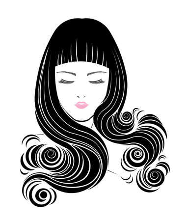 long hair: Long hair style icon, women face on white background, vector Illustration