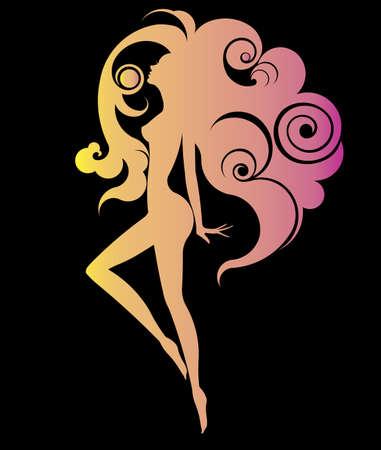 Resumen de la forma de la mujer hermosa estética del icono y el spa, las mujeres del logotipo sobre fondo negro, vector