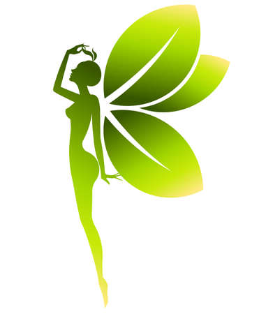 abstract green shape of  woman icon cosmetic and spa, women on white background