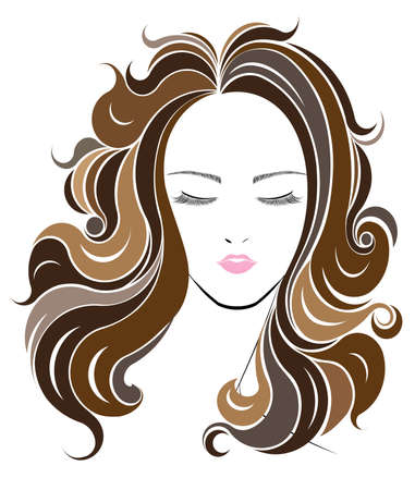 long hair: Long hair style icon, women face on white background