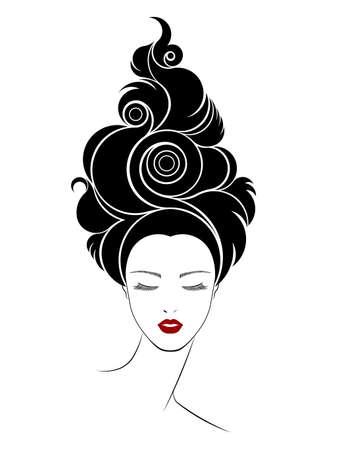Larga icono de estilo de pelo, las mujeres se enfrentan en el fondo blanco Ilustración de vector