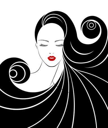 icono de estilo de pelo largo Ilustración de vector
