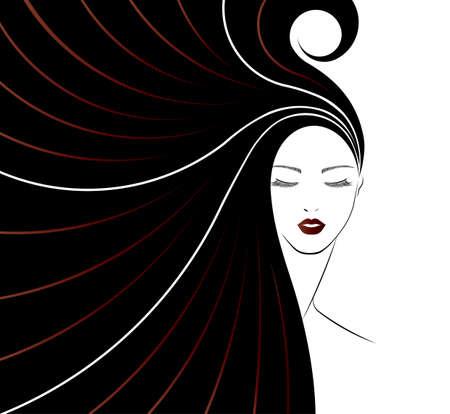 larga icono de estilo de pelo, las mujeres se enfrentan en el fondo blanco