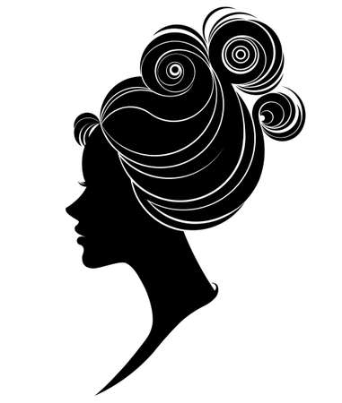 cabeza femenina: Ilustración del icono silueta de la mujer, las mujeres se enfrentan en el fondo blanco