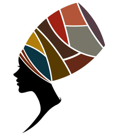 illustration of African women silhouette fashion models on white background
