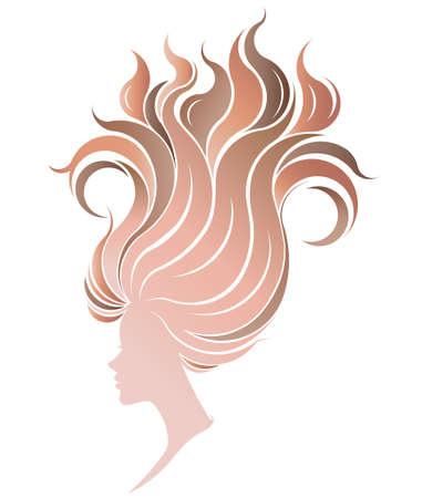 illustration of women silhouette icon, women face on white background