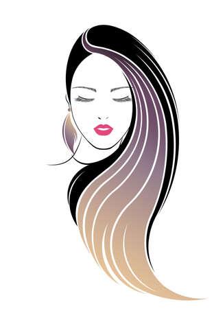 long hair style icon, women face on white background Stok Fotoğraf - 54947672