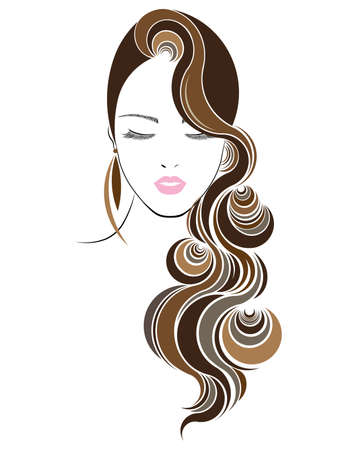 long hair style icon, women face on white background
