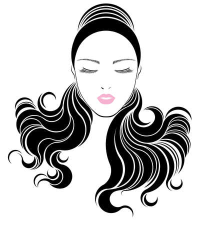 long black hair: long hair style icon, women face on white background