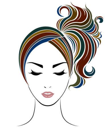 ponytail: ponytail hair style icon, women face on white background