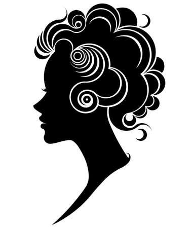 illustration of women silhouette icon, women face