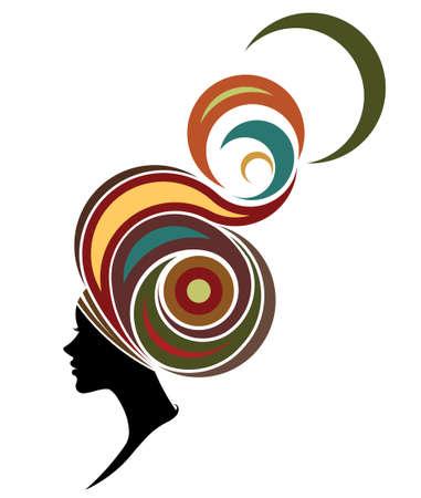 mujeres morenas: Ilustración de la silueta de la mujer africana modelos de la moda en el fondo blanco Vectores