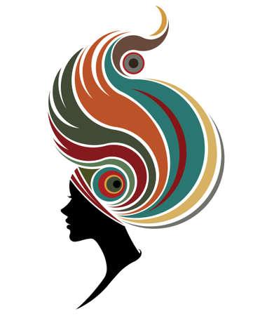 白い背景のファッションモデルのシルエットのアフリカの女性のイラスト