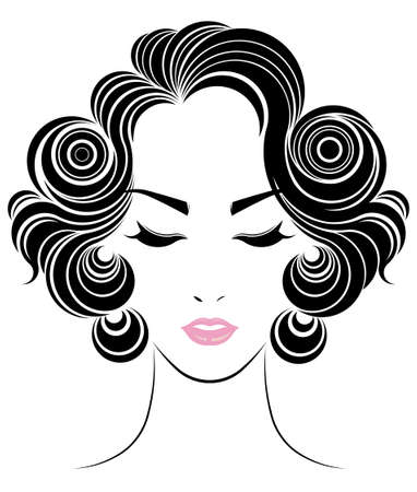 short hair style icon, women face on white background Illustration
