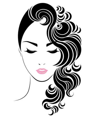 hair style: Long hair style icon Illustration