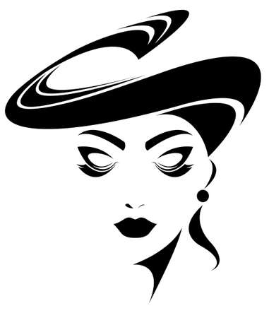 shadow silhouette: illustration of woman face, women icon, women face on  white background