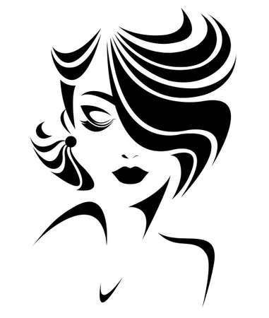 ilustración de la cara de la mujer, icono de la mujer, las mujeres se enfrentan en el fondo blanco